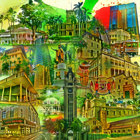 RAY - RAYcities - Honolulu - Collage - 100 x 100 cm