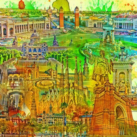 RAY - RAYcities - Barcelona - Collage - 100 x 100 cm