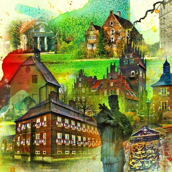 RAY - RAYcities - Hamm - Collage - 3 Schlösser - 100 x 100 cm
