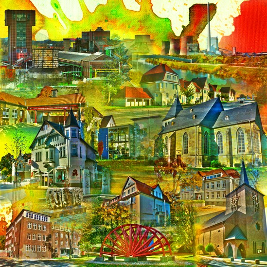 RAY - RAYcities - Hamm - Collage - Herringen - 70 x 70 cm