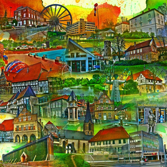 RAY - RAYcities - Werne 2 - Collage - 70 x 70 cm