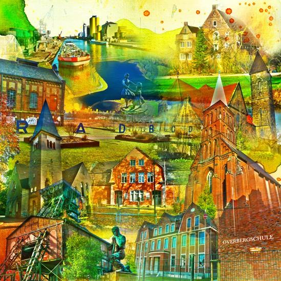 RAY - RAYcities - Hamm - Collage - Bockum Hövel - 100 x 100 cm
