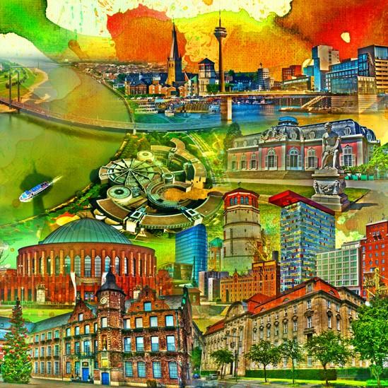 RAY - RAYcities - Düsseldorf - Collage - 100 x 100 cm