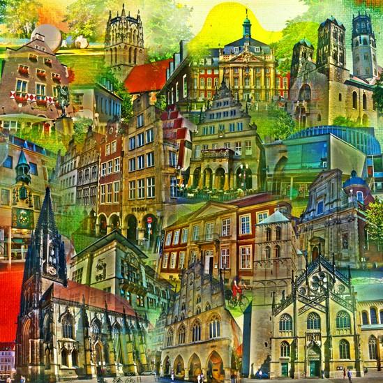 RAY - RAYcities - Münster 1 - Collage - 70 x 70 cm