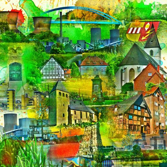 RAY - RAYcities - Hamm - Collage - Uentrop - 100 x 100 cm