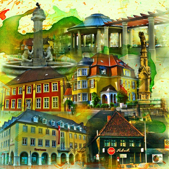 RAY - RAYcities - Hamm - Collage - Historisch 2 - 70 x 70 cm