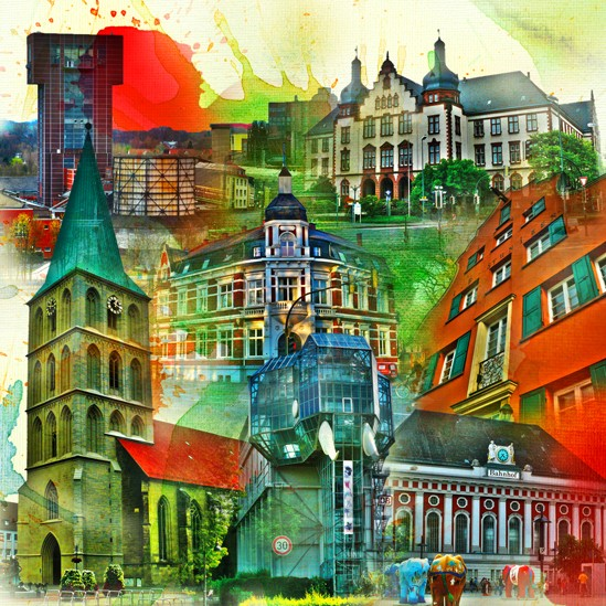 RAY - RAYcities - Hamm - Collage - City 3 - 100 x 100 cm