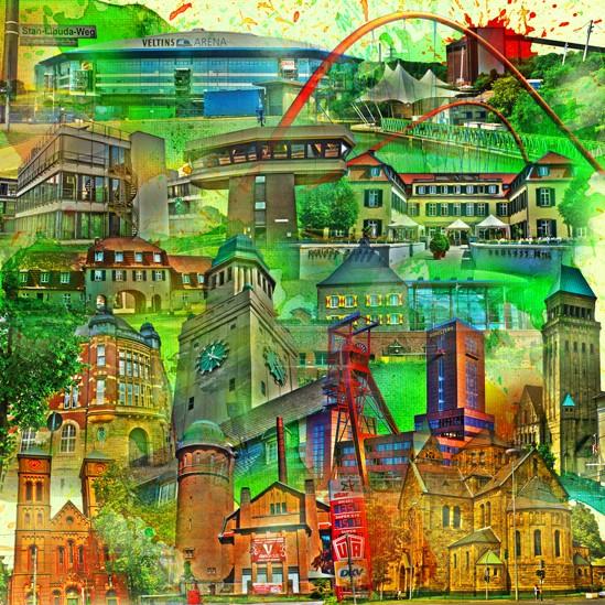 RAY - RAYcities - Gelsenkirchen - Collage - 100 x 100 cm