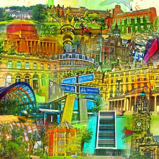 RAY - RAYcities - Sheffield - Collage - 100 x 100 cm
