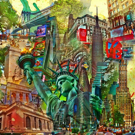RAY - RAYcities - New York - Collage - 70 x 70 cm