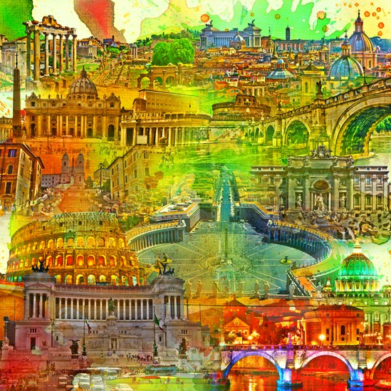 RAY - RAYcities - Rom - Collage - 100 x 100 cm