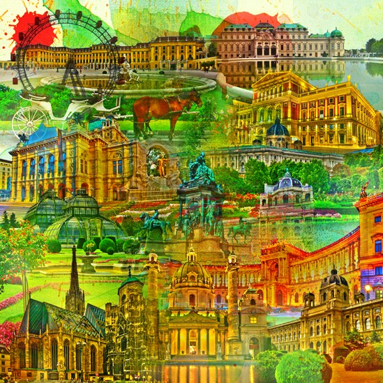 RAY - RAYcities - Wien - Collage - 70 x 70 cm