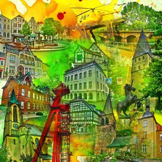 RAY - RAYcities - Kamen - Collage - 100 x 100 cm