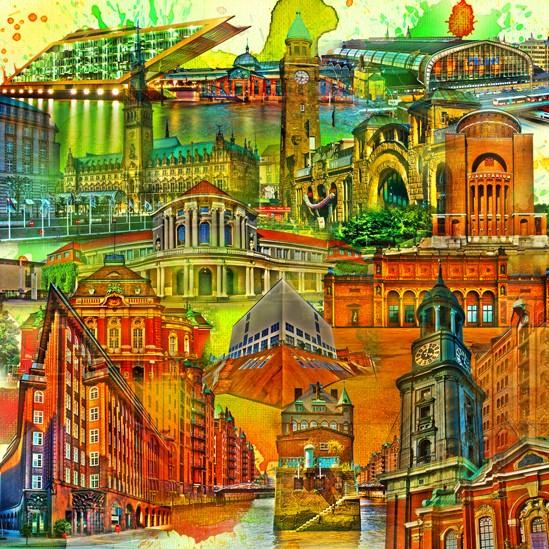 RAY - RAYcities - Hamburg - Collage - 100 x 100 cm