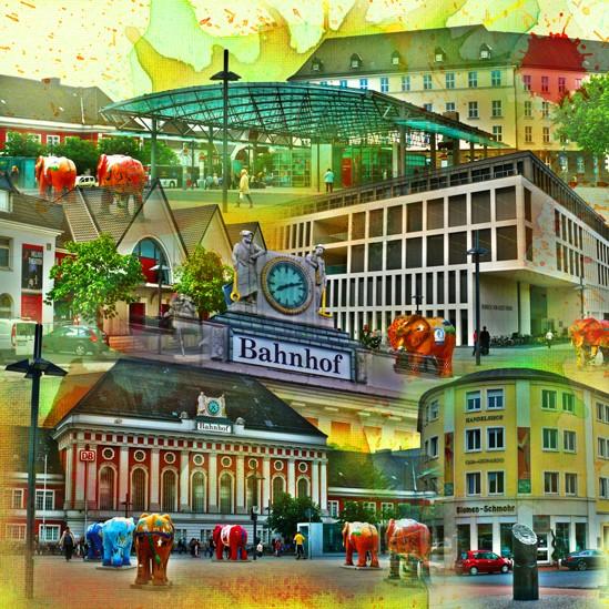 RAY - RAYcities - Hamm - Collage - Bahnhofsquartier - 100 x 100 cm