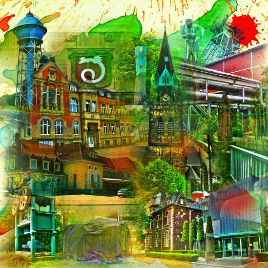 RAY - RAYcities - Ahlen - Collage - 100 x 100 cm