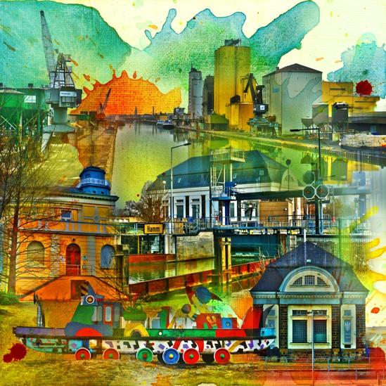 RAY - RAYcities - Hamm - Collage - Hafen und Schleuse - 70 x 70 cm