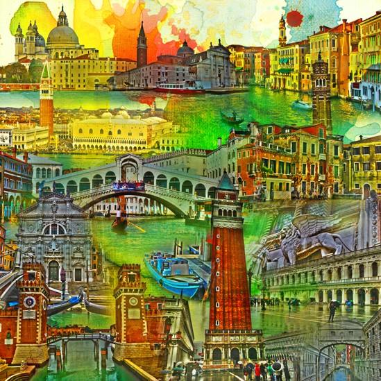 RAY - RAYcities - Venedig - Collage - 70 x 70 cm