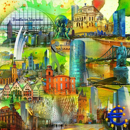 RAY - RAYcities - Frankfurt am Main - Collage - Goethe - 100 x 100 cm