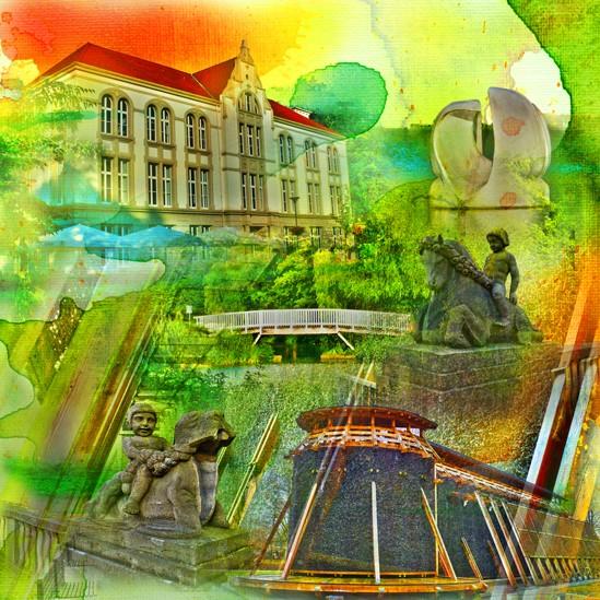RAY - RAYcities - Hamm - Collage - Kurhaus und Kurpark - 100 x100 cm