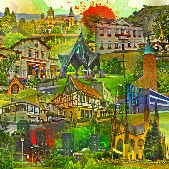 RAY - RAYcities - Remagen - Collage - 70 x 70 cm