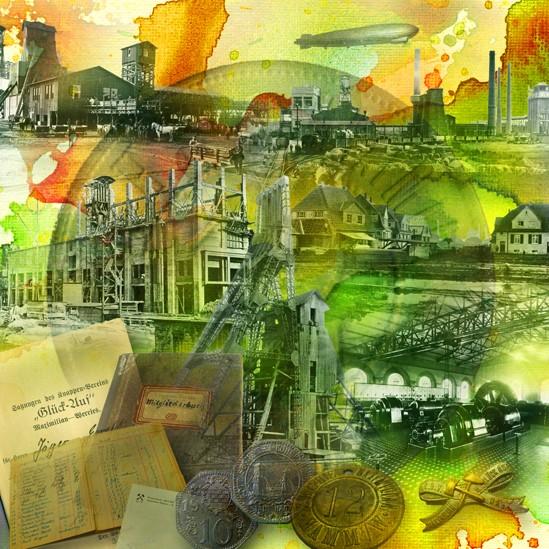 RAY - RAYcities - Hamm - Collage - 100 Jahre Zeche Maximilian - 100 x 100 cm