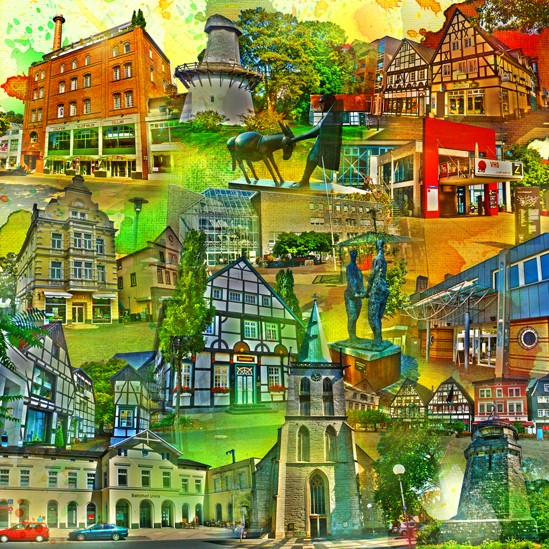 RAY - RAYcities - Unna - Collage - 70 x 70 cm