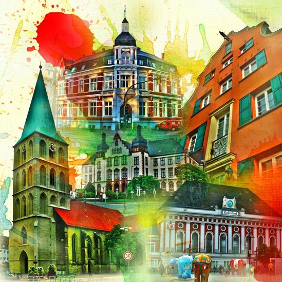 RAY - RAYcities - Hamm - Collage - City 1 - 100 x 100 cm