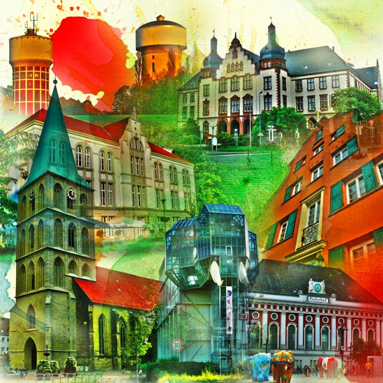RAY - RAYcities - Hamm - Collage - City 2 - 100 x 100 cm